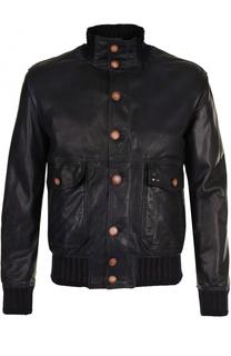 Кожаная куртка с накладными карманами Delan