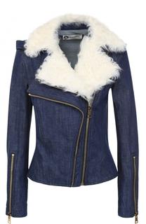 Джинсовая куртка с косой молнией и отделкой из меха овчины Lanvin