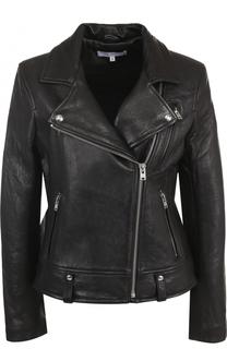 Приталенная кожаная куртка с косой молнией Iro