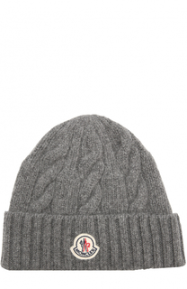 Шерстяная шапка фактурной вязки с логотипом бренда Moncler