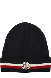 Шерстяная вязаная шапка с логотипом бренда Moncler