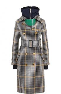 Двубортное пальто с поясом и капюшоном Sacai