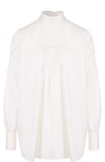 Шелковая блуза с воротником аскот и драпировкой Valentino