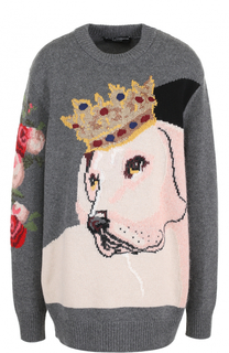 Удлиненный кашемировый пуловер с принтом Dolce & Gabbana