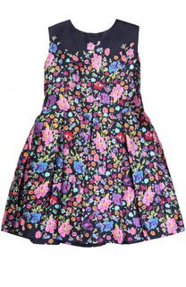 Мини-платье из смеси хлопка и шелка с принтом Oscar de la Renta