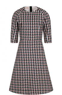 Приталенное платье-миди с принтом и укороченным рукавом Marni