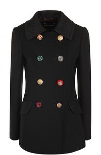 Приталенное шерстяное пальто с декорированными пуговицами Dolce & Gabbana