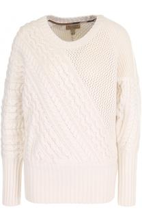 Пуловер фактурной вязки из смеси шерсти и кашемира Burberry