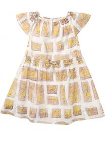 Хлопковое платье с принтом на кулиске Burberry