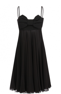 Шелковое платье-миди с завышенной талией и бантом Valentino