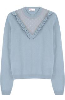 Шерстяной пуловер с кружевной отделкой REDVALENTINO