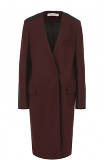 Шерстяное пальто прямого кроя с V-образным вырезом Victoria by Victoria Beckham