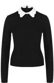 Шерстяной пуловер с контрастным отложным воротником Alice + Olivia