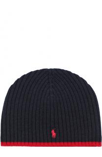 Шерстяная шапка с логотипом бренда Polo Ralph Lauren