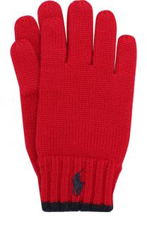 Шерстяные перчатки с логотипом бренда Polo Ralph Lauren