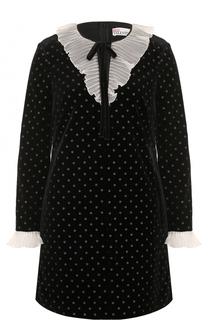 Мини-платье прямого кроя с оборками REDVALENTINO