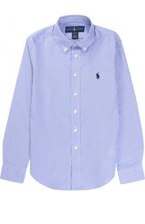 Хлопковая рубашка в мелкую клетку Polo Ralph Lauren