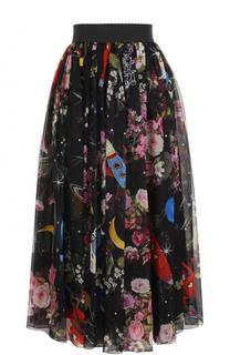 Шелковая юбка-миди с принтом и эластичным поясом Dolce & Gabbana