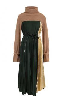 Плиссированное платье-миди с завышенной талией Sacai