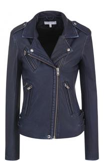 Кожаная куртка с косой молнией и потертостями Iro