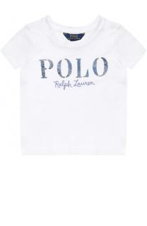 Хлопковая футболка с вышивкой и аппликацией Polo Ralph Lauren
