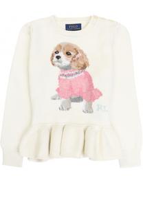 Пуловер из хлопка и шерсти с оборкой и принтом Polo Ralph Lauren