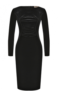 Бархатное платье-футляр с драпировкой Armani Collezioni