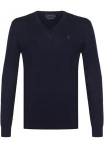Шерстяной вязаный пуловер с логотипом бренда Polo Ralph Lauren