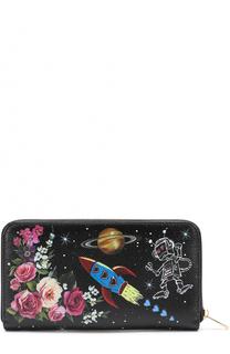 Кожаный кошелек с принтом на молнии Dolce & Gabbana