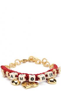 Плетеный браслет с подвесками и кристаллами Swarovski Dolce & Gabbana