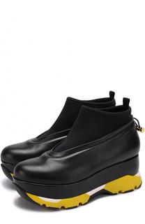 Кожаные ботинки на платформе с цветными вставками Marni