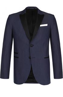 Однобортный пиджак из смеси хлопка и шелка с платком Neil Barrett
