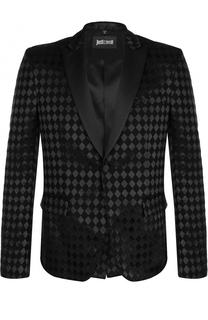 Шерстяной однобортный пиджак с фактурной отделкой Just Cavalli