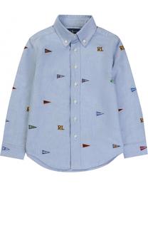 Хлопковая рубашка с вышивкой и воротником button down Polo Ralph Lauren