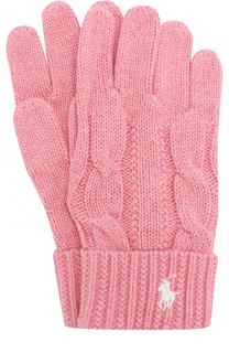 Перчатки фактурной вязки с логотипом бренда Polo Ralph Lauren