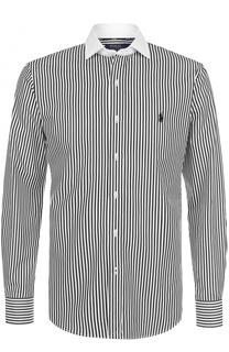 Хлопковая рубашка в полоску с воротником кент Polo Ralph Lauren
