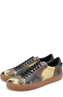 Кожаные кеды с камуфляжным принтом на шнуровке Givenchy