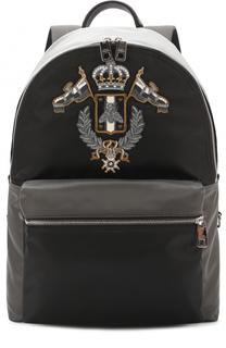 Комбинированный рюкзак с вышивкой Dolce & Gabbana
