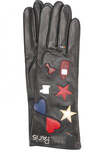 Кожаные перчатки с аппликацией Agnelle