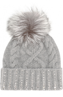 Кашемировая шапка фактурной вязки с кристаллами Swarovski William Sharp
