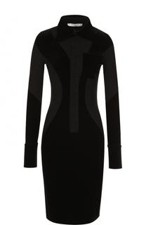 Приталенное платье-миди с бархатными вставками Givenchy