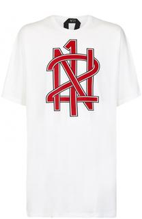 Удлиненная хлопковая футболка с принтом No. 21