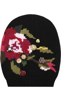 Шерстяная вязаная шапка с принтом и брошками Dolce & Gabbana