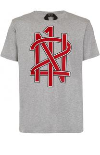 Хлопковая футболка с принтом No. 21