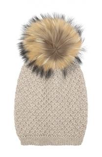 Вязаная шапка из смеси шерсти и кашемира с меховым помпоном Inverni