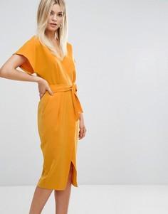 Платье-футляр с запахом и поясом Closet - Мульти