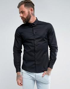 Черная эластичная приталенная рубашка с длинными рукавами ASOS - Черный
