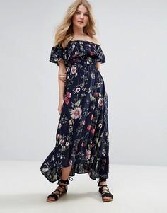 Платье макси со спущенными плечами и цветочным принтом QED London - Темно-синий