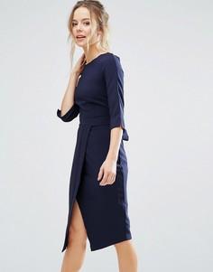 Платье-футляр с запахом и рукавами 3/4 Closet London - Темно-синий