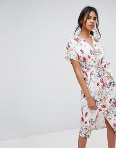 Платье миди с запахом Closet London - Мульти